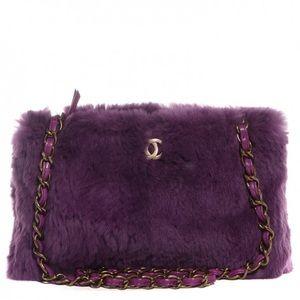 Authentic Rabbit Fur Chanel Chain Shoulder Bag